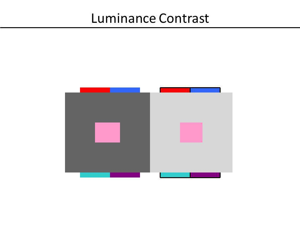 Luminance Contrast Just like chromatic saturation and hue, the luminance of the surrounding elements can alter color perception.
