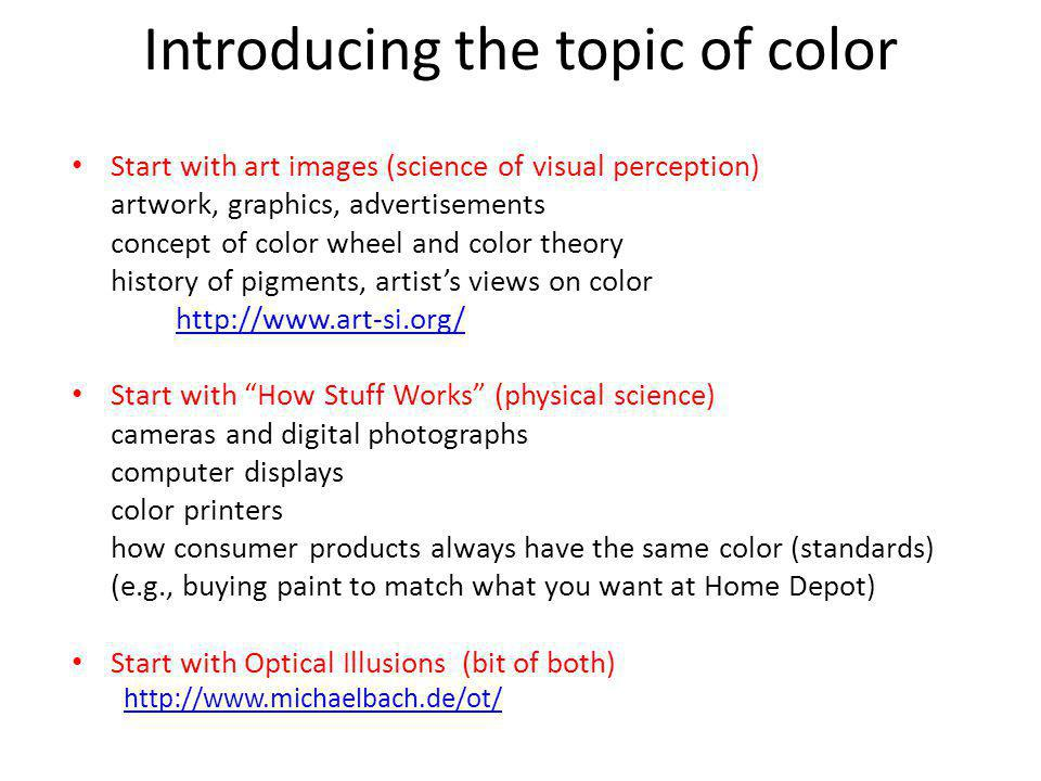 Introducing the topic of color