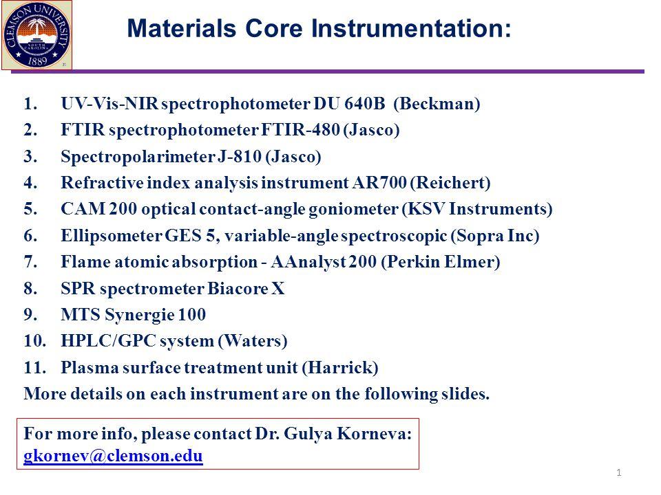 Materials Core Instrumentation: