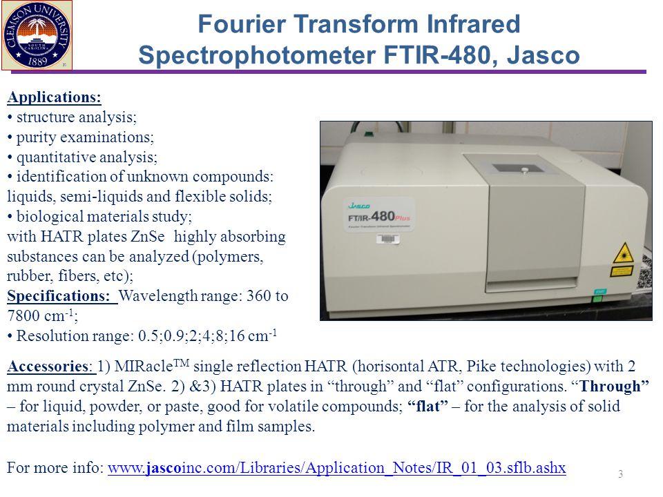 Fourier Transform Infrared Spectrophotometer FTIR-480, Jasco