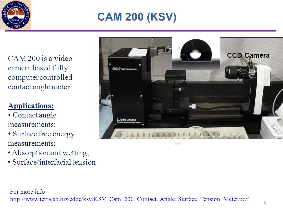 CAM 200 (KSV) CCD Camera. CAM 200 is a video camera based fully computer controlled contact angle meter.