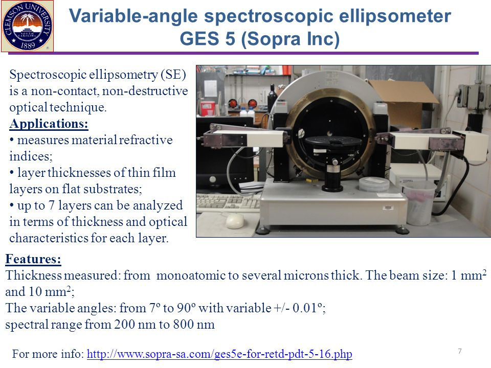 Variable-angle spectroscopic ellipsometer GES 5 (Sopra Inc)