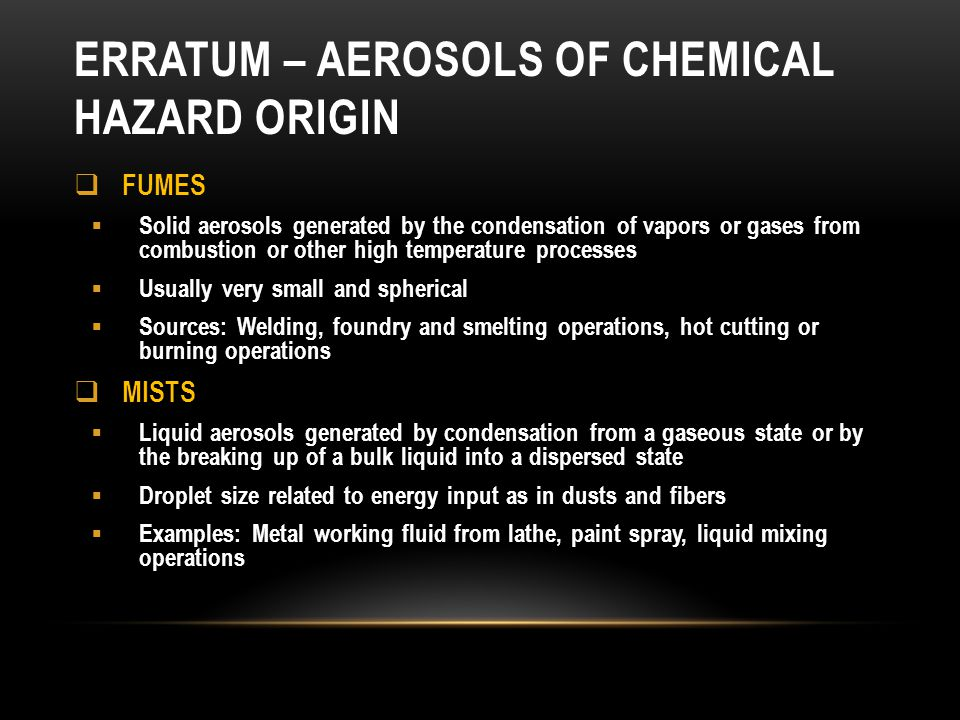 Erratum – aerosols of chemical hazard origin