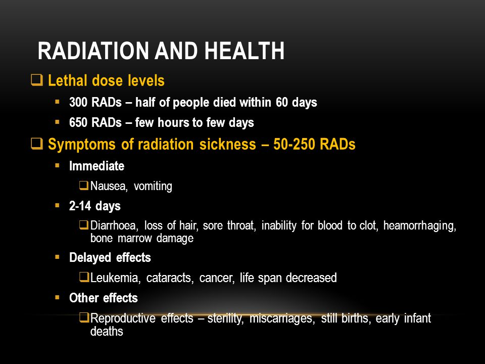 Radiation and health Lethal dose levels