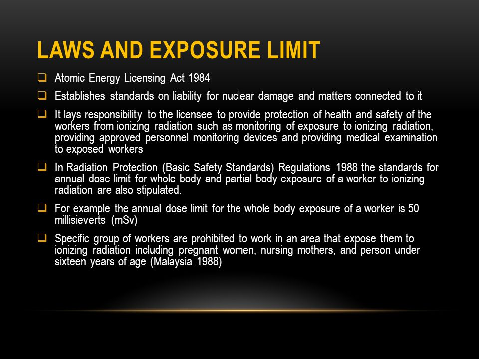 Laws and Exposure Limit