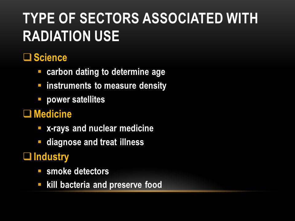 Type of sectors associated with radiation use