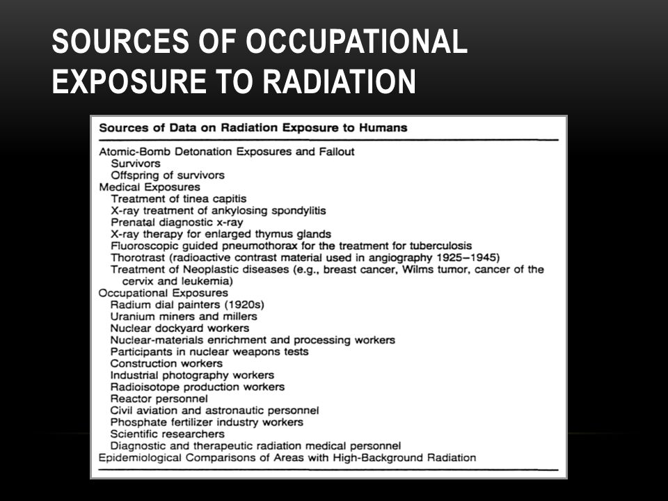 Sources of occupational exposure to radiation