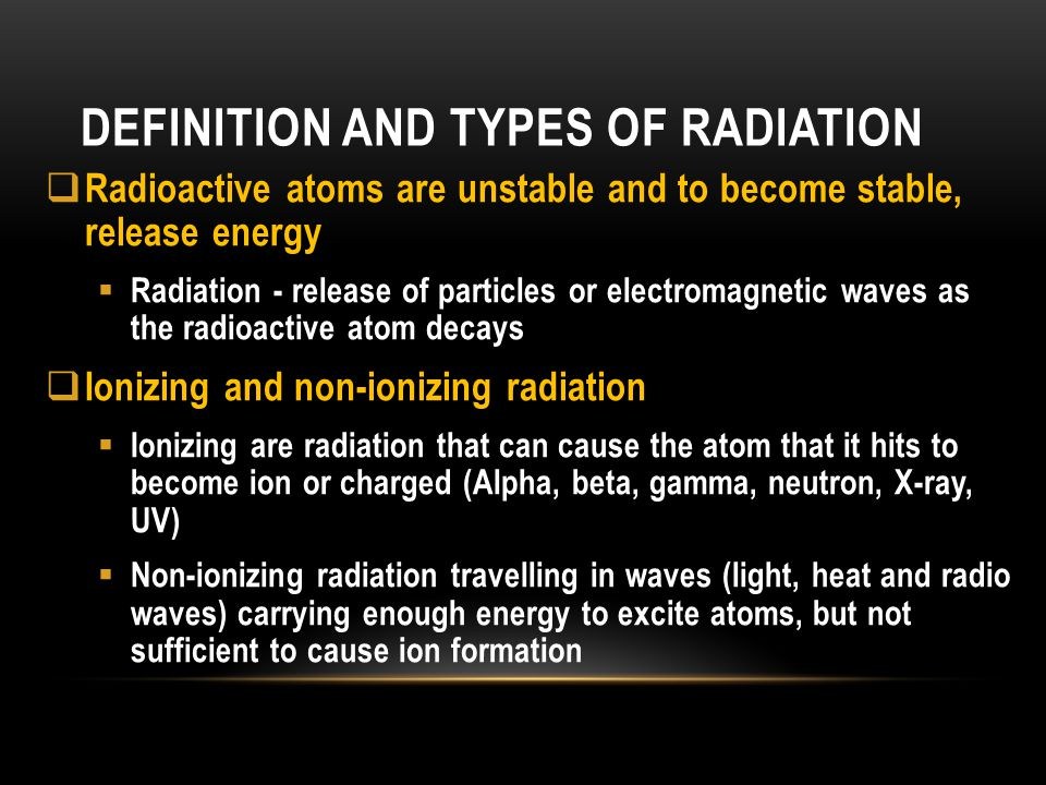 Definition and Types of radiation