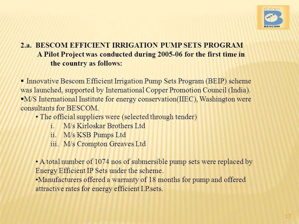 2.a. BESCOM EFFICIENT IRRIGATION PUMP SETS PROGRAM