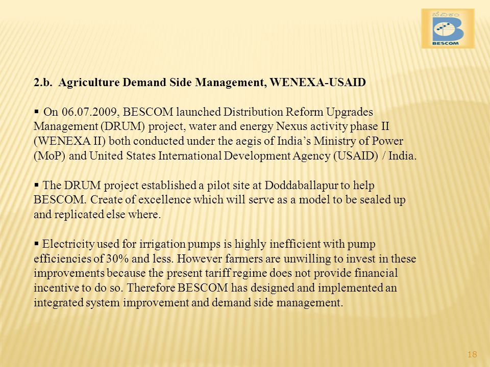 2.b. Agriculture Demand Side Management, WENEXA-USAID