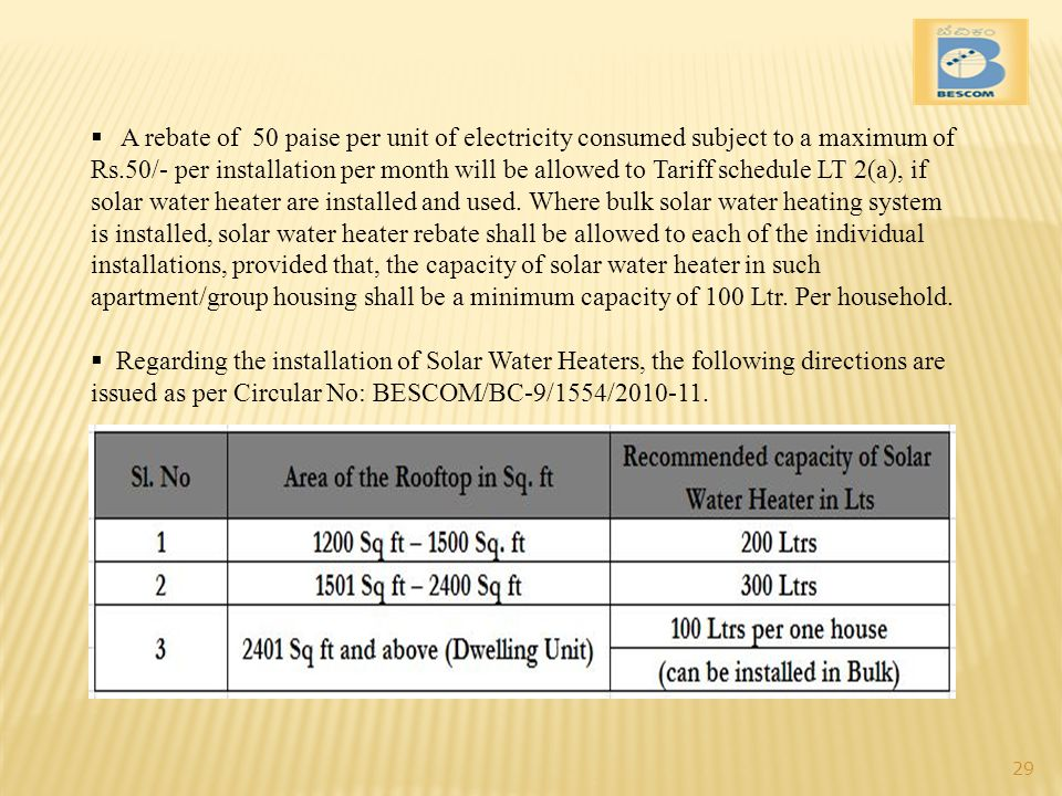 A rebate of 50 paise per unit of electricity consumed subject to a maximum of Rs.50/- per installation per month will be allowed to Tariff schedule LT 2(a), if solar water heater are installed and used. Where bulk solar water heating system is installed, solar water heater rebate shall be allowed to each of the individual installations, provided that, the capacity of solar water heater in such apartment/group housing shall be a minimum capacity of 100 Ltr. Per household.