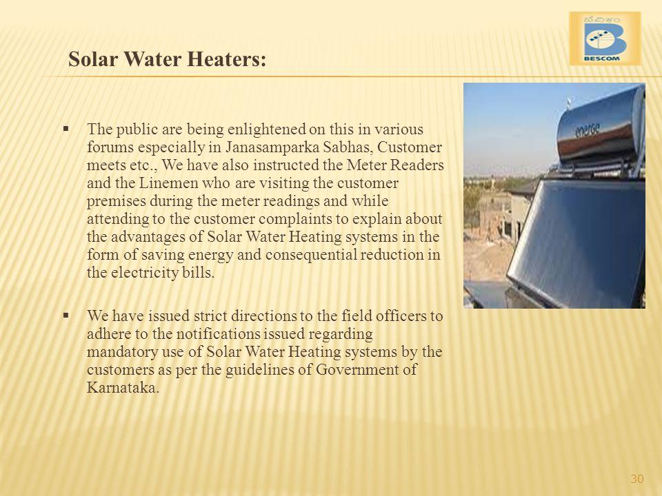 Solar Water Heaters: