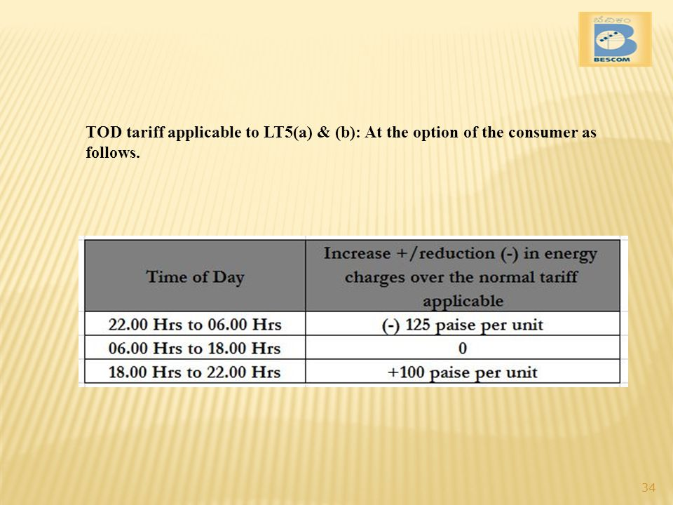 TOD tariff applicable to LT5(a) & (b): At the option of the consumer as follows.