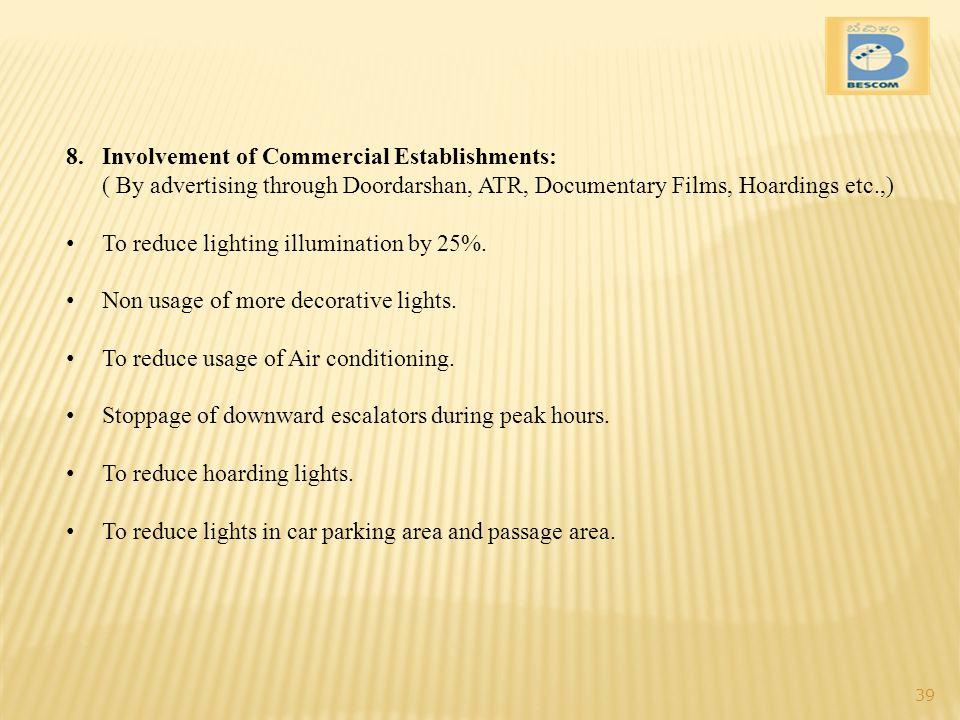 Involvement of Commercial Establishments: