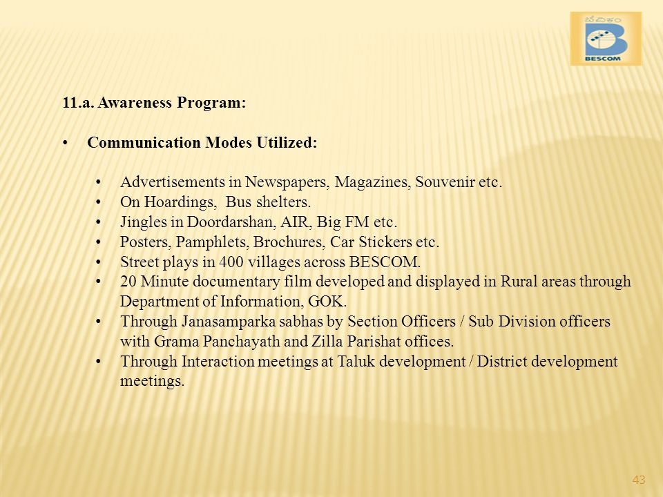 11.a. Awareness Program: Communication Modes Utilized: Advertisements in Newspapers, Magazines, Souvenir etc.