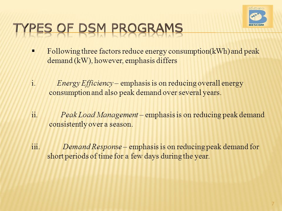 Types of DSM Programs Following three factors reduce energy consumption(kWh) and peak demand (kW), however, emphasis differs.