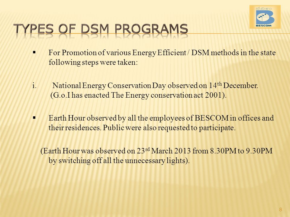Types of DSM Programs For Promotion of various Energy Efficient / DSM methods in the state following steps were taken: