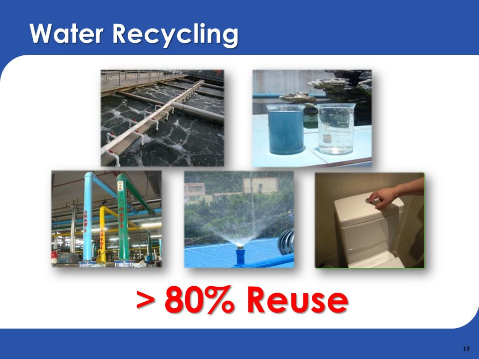 Water Recycling >80% Reuse