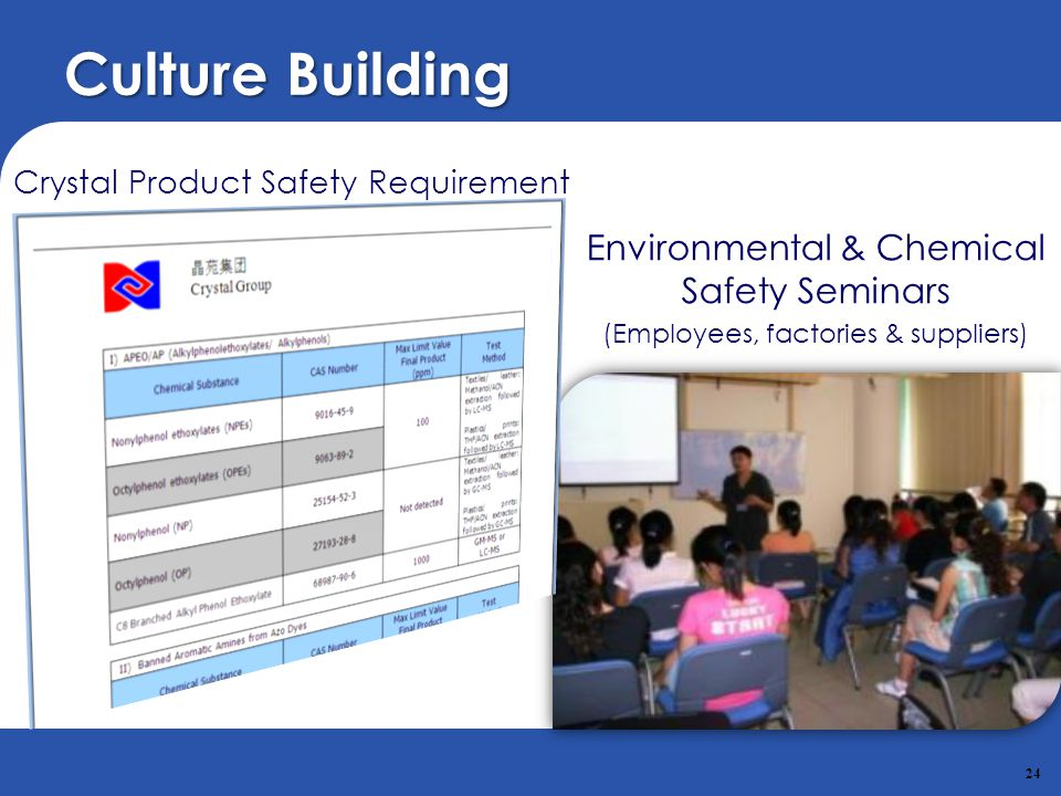 Culture Building Environmental & Chemical Safety Seminars
