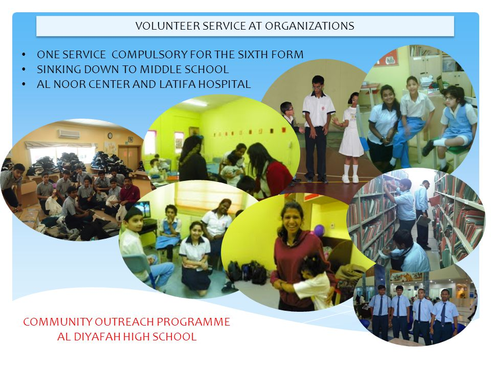 VOLUNTEER SERVICE AT ORGANIZATIONS