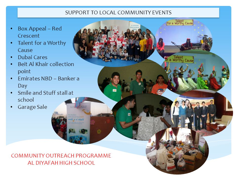SUPPORT TO LOCAL COMMUNITY EVENTS