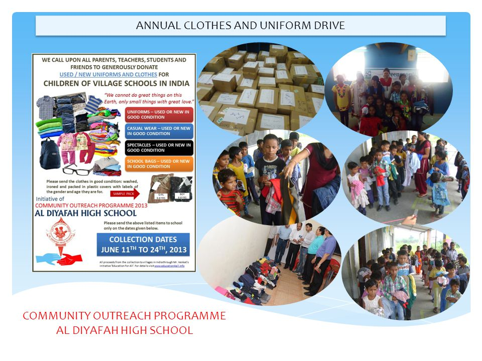 ANNUAL CLOTHES AND UNIFORM DRIVE