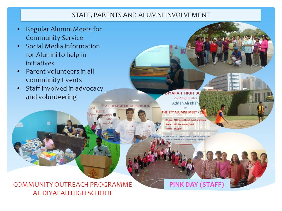 STAFF, PARENTS AND ALUMNI INVOLVEMENT