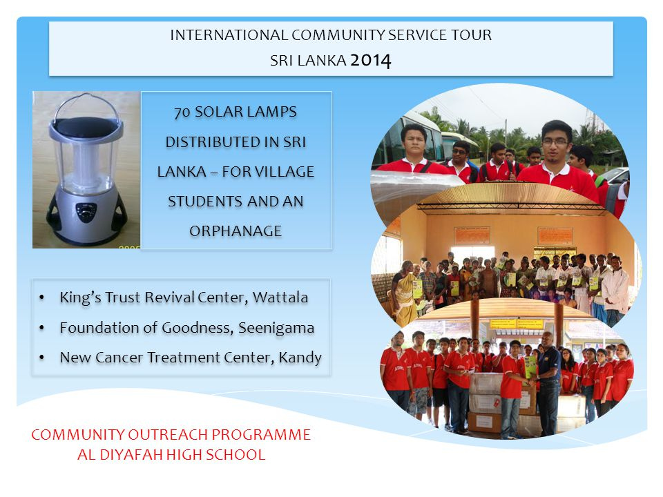 INTERNATIONAL COMMUNITY SERVICE TOUR SRI LANKA 2014