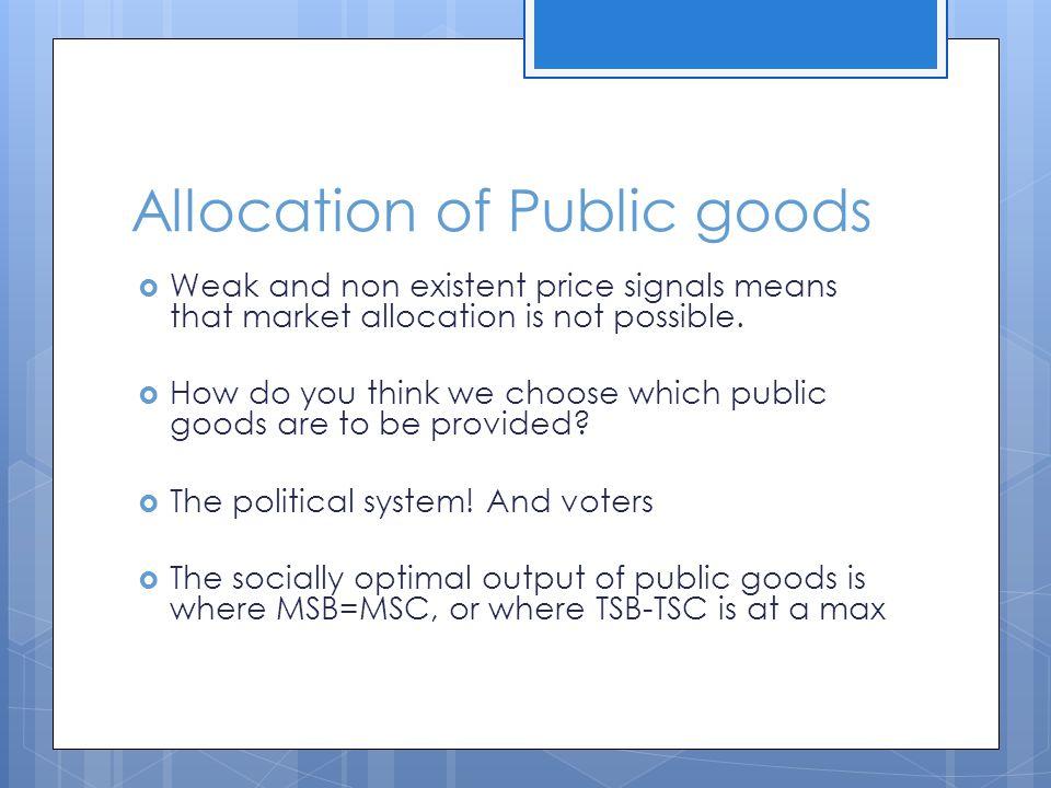 Allocation of Public goods