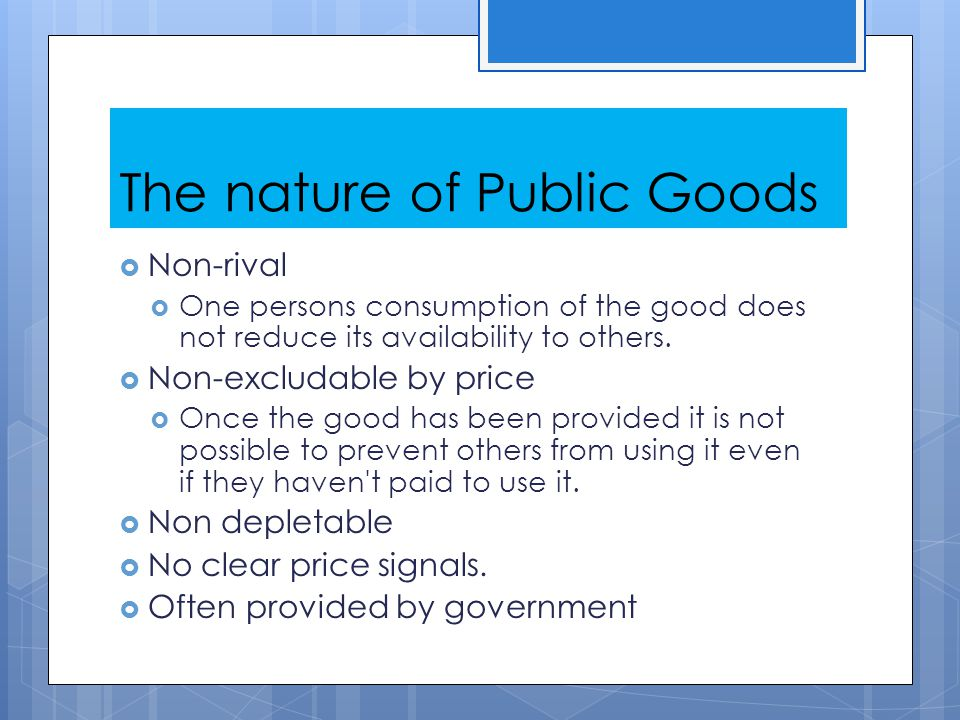 The nature of Public Goods