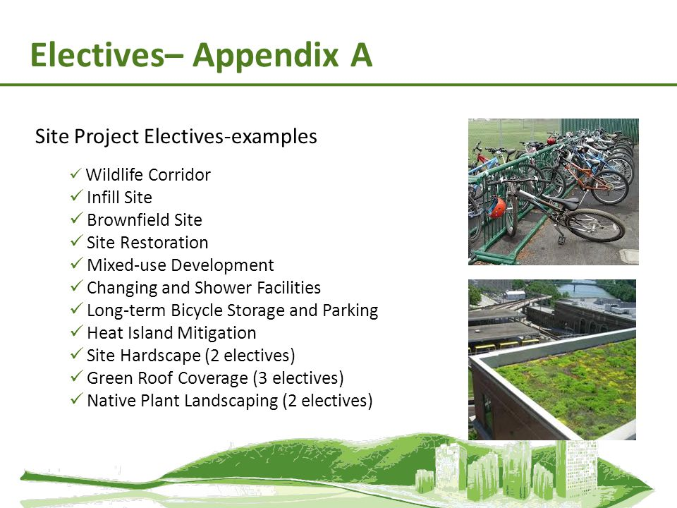 Electives– Appendix A Site Project Electives-examples Infill Site