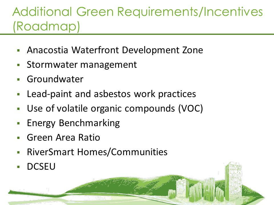Additional Green Requirements/Incentives (Roadmap)