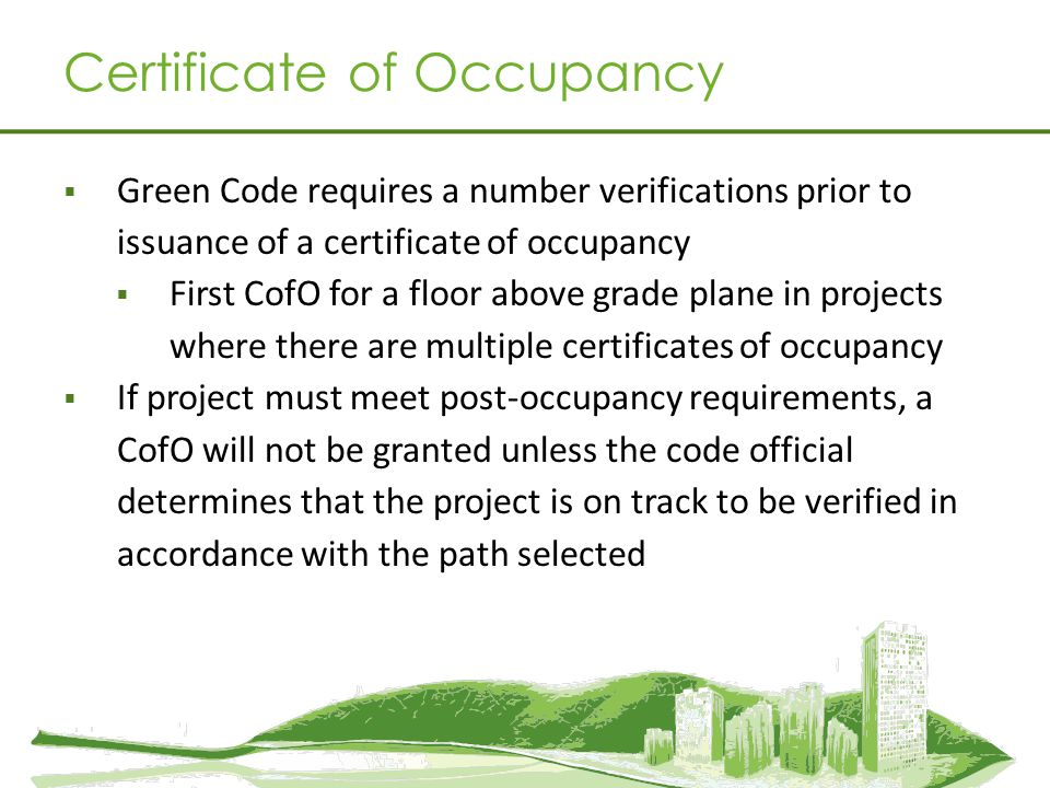 Certificate of Occupancy