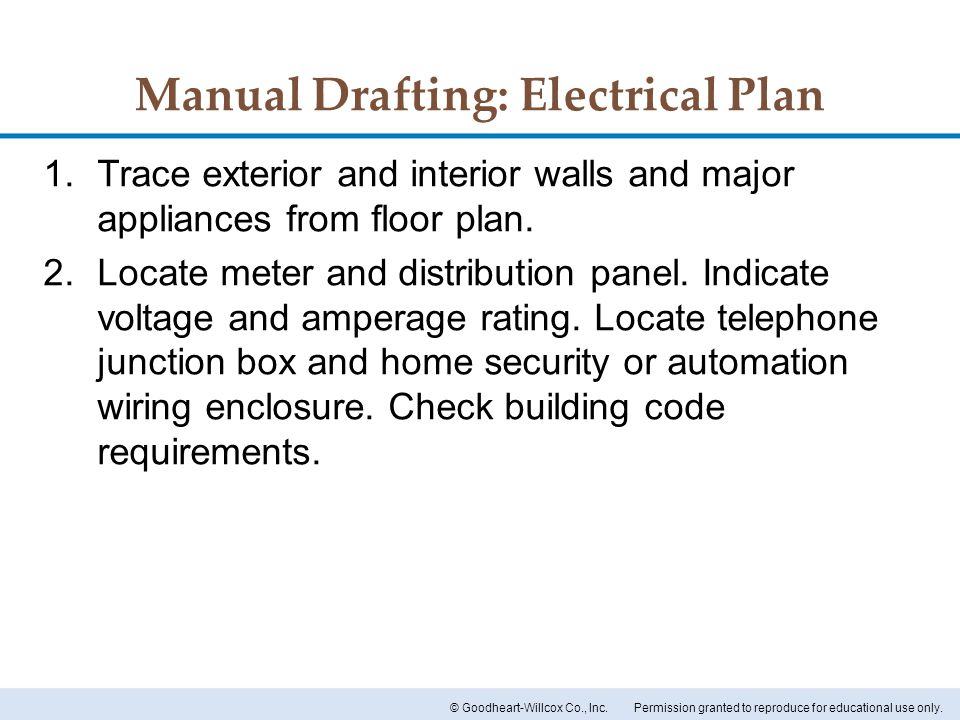Manual Drafting: Electrical Plan