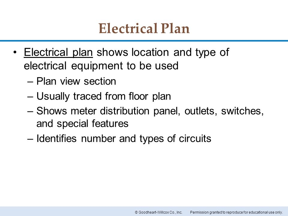 Electrical Plan Electrical plan shows location and type of electrical equipment to be used. Plan view section.