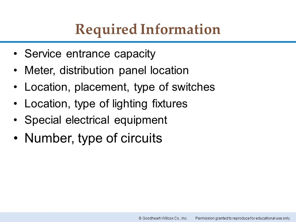 Required Information Number, type of circuits
