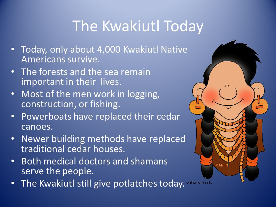 The Kwakiutl Today Today, only about 4,000 Kwakiutl Native Americans survive. The forests and the sea remain important in their lives.