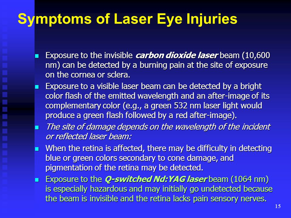 Symptoms of Laser Eye Injuries