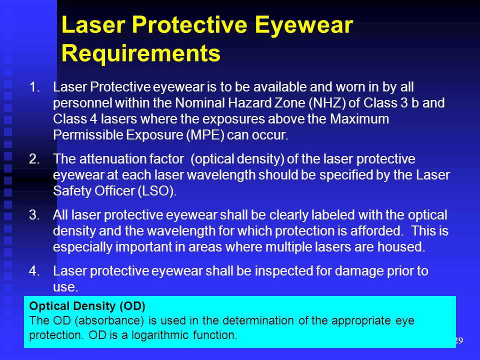 Laser Protective Eyewear Requirements