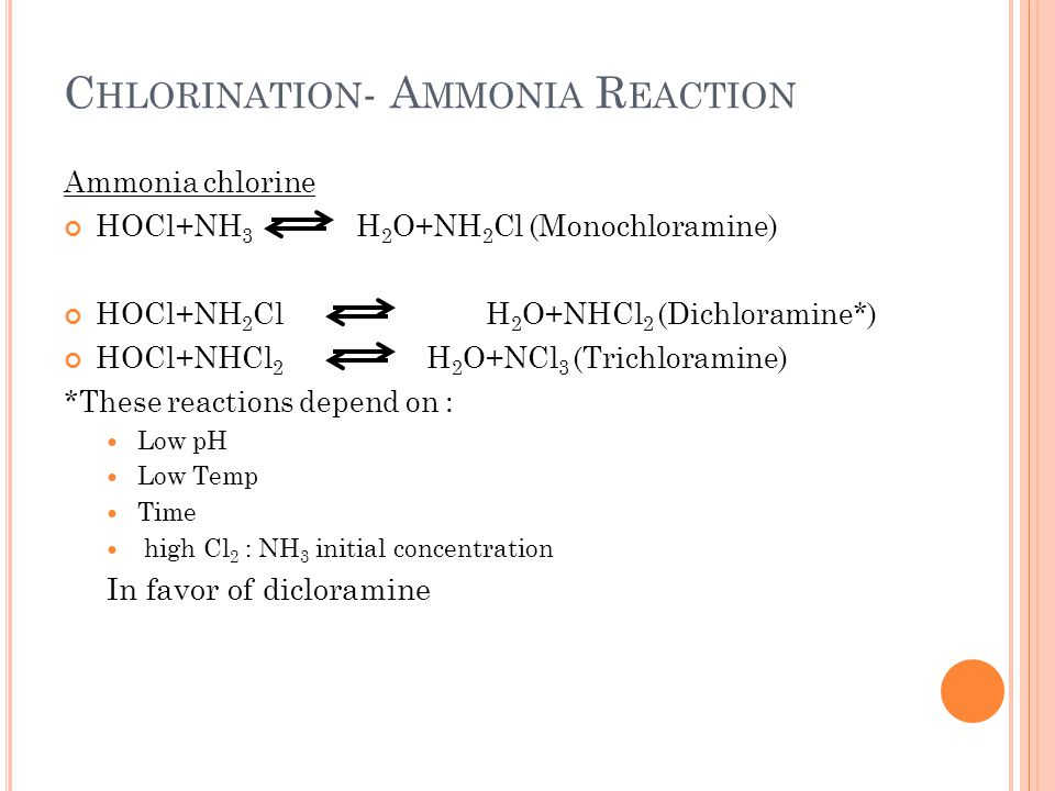 Chlorination- Ammonia Reaction