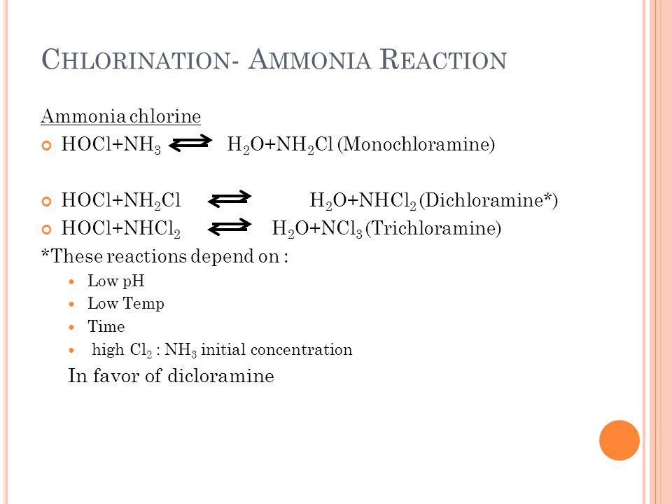 Chlorination- Ammonia Reaction
