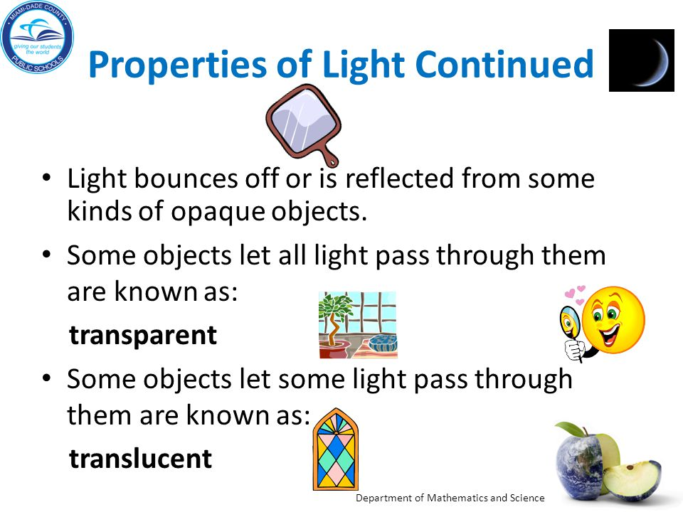 Properties of Light Continued
