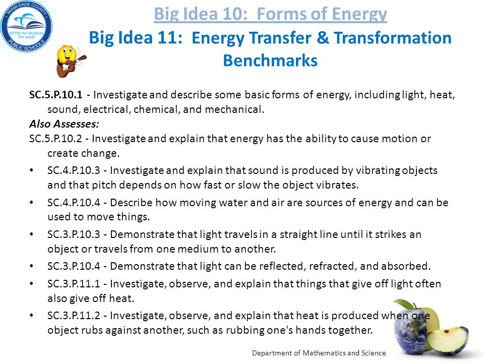 Big Idea 10: Forms of Energy Big Idea 11: Energy Transfer & Transformation Benchmarks