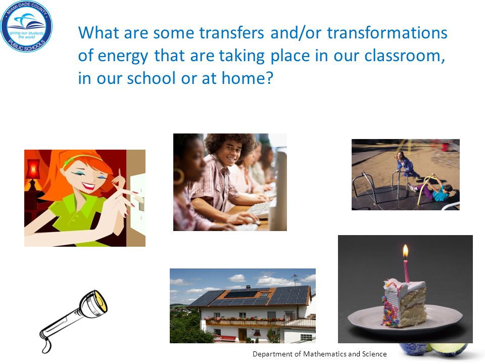 What are some transfers and/or transformations of energy that are taking place in our classroom, in our school or at home