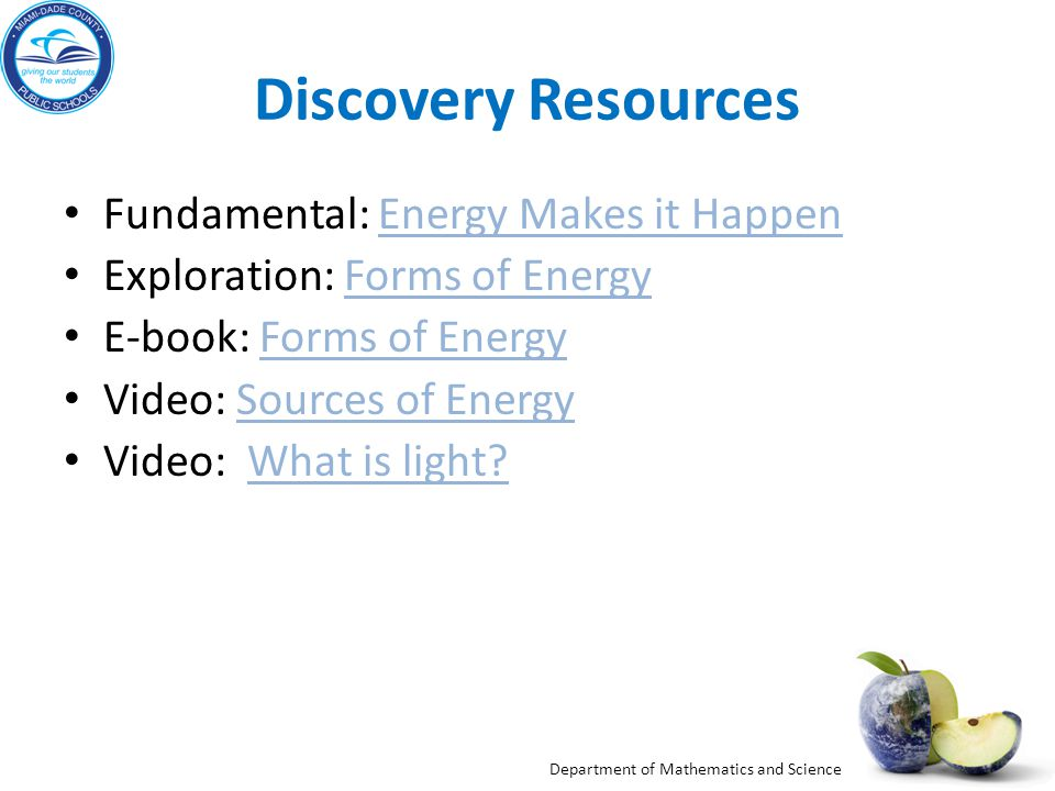 Discovery Resources Fundamental: Energy Makes it Happen