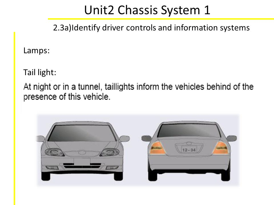 Unit2 Chassis System 1 2.3a)Identify driver controls and information systems Lamps: Tail light: