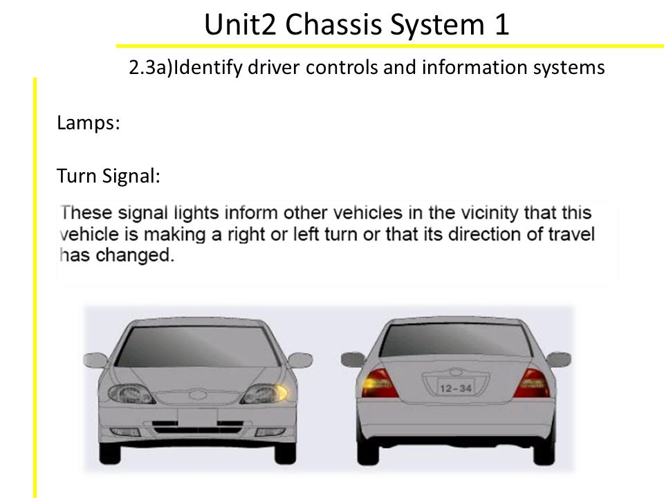 Unit2 Chassis System 1 2.3a)Identify driver controls and information systems Lamps: Turn Signal: