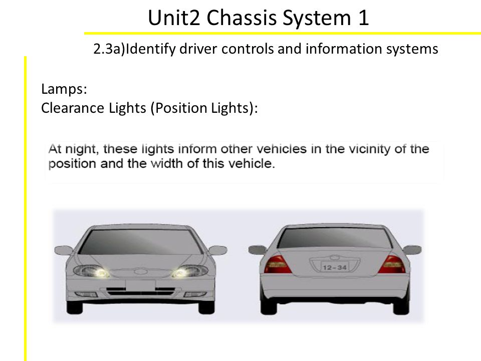 Unit2 Chassis System 1 2.3a)Identify driver controls and information systems.