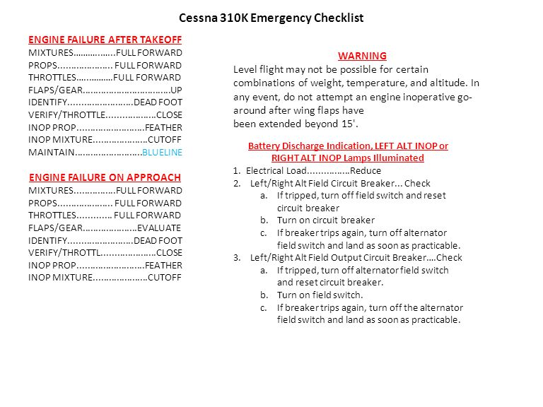Cessna 310K Emergency Checklist