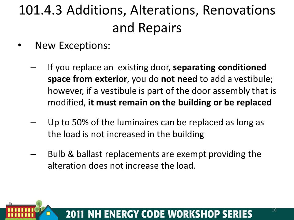101.4.3 Additions, Alterations, Renovations and Repairs